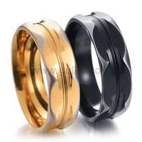 Names Engraved Black and Gold Wedding Rings for Two