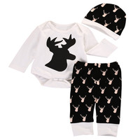 Christmas 3 Pcs Newborn Baby Kids Girl Boy Deer Outfit Infant Babies New Kid Bodysuit Onesuit+Pants+Hat Xmas Outfit Clothing Set