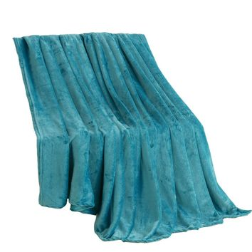 Beddowell Coral Fleece Blanket Solid Blue Polyester Plaid Bedsheet Single Doube Bed Queen King Size Faux Fur Blankets On The Bed