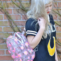 Pink 90s Daisy Flower Floral Club Kid See Through Clear Plastic Blow Up Inflatable Bubble Bag Rucksack Backpack