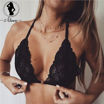 ALINRY Women's Bralette black floral lace sexy bra intimates Brassiere lingerie thin perspective underwear tops hollow-out bras