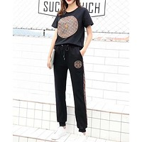 """""""LOUIS VUITTON"""" Woman Leisure Fashion Letter Embroidery Personality Printing Crew Neck Short Sleeve Tops Trousers Two-Piece Set Casual Wear Sportswear"""