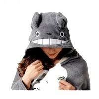 WOWcosplay Unisex All-In-One Pajamas Cosplay Costume Adult Sleepwear - Totoro Cosplay Cloak Pro Version + Totoro 4.5cm Cute Min Pin, Gray/White, One Size