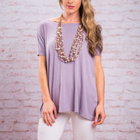 Show Your Soft Side Piko Top, Lilac Gray