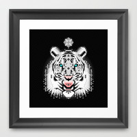 Silver Geometric Tiger Framed Art Print by chobopop