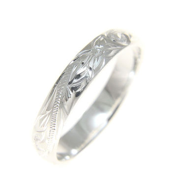 4MM STERLING SILVER 925 HAWAIIAN PLUMERIA SCROLL BAND RING SIZE 1 - 12