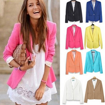 New fashion Women fashion Blazer Women  Candy Color Jackets Suit One Button Slim Yellow Ladies Blazers Work Wear Blaser = 1958124804