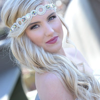 Pink Pewter Jeweled Stretch Headband AUDREY White AB -Wedding Prom Hair Accessory