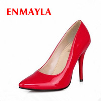 ENMAYLA 7 Colors Women Stiletto High Heels Shoes Pointed Toe Sexy Wedding Fashion Sexy Platform Pumps Heels Shoes Big Size 34-44