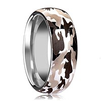Domed Tungsten Wedding Band for Men with Black and Gray Camo and Polished Finish- 6MM - 8MM - 10MM