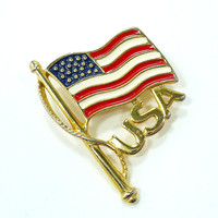 Vintage Enamel American Flag Brooch, Gold USA, Red White Blue, Unisex Patriotic Jewelry, Pride in USA 4th of July, Support Our Troops