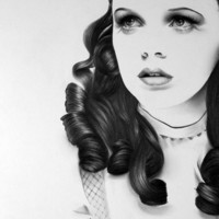 Judy Garland Wizard of Oz Dorothy Pencil Drawing Fine Art Archival Print Hand Signed Portrait Vintage Glamour Beauty