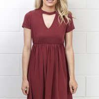 High Neck Keyhole Modal Dress {Burgundy}