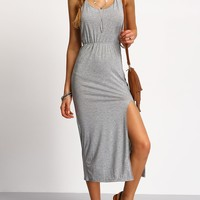 Halterneck Backless Split Side Dress