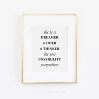 Shes a Dreamer, A Doer A Thinker, She Sees Possibility Everywhere, Gift For Her, Desk Accessories, Office Wall Art, Girl Boss, Printable Art