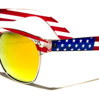 American Flag Sunglasses with Yellow Mirrored Lenses