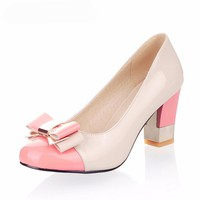 Women' Round Toe Office High Heels Shoes