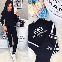 balenciaga Fashion Women Casual Round Collar Top Pants Set Two-Piece