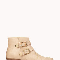 FOREVER 21 Total Stud Buckled Booties Taupe