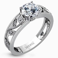 Simon G. Filligree Diamond Engagement Ring with Scrollwork Vine Design