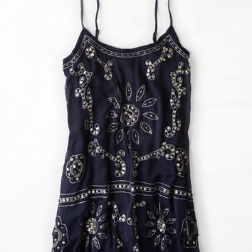 AEO Women's Sequined Chiffon Slip Dress (Navy)