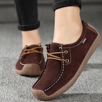 Women Flats Genuine Leather Loafers Lace Up Folding Moccasins Foldable Casual Shoes Ladies Square Toe Female Zapatos Mujer