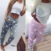 2016 Spring Pink & Gray New Arrival Women Pants Star Pattern Thicken Casual Pants Street or Home Wear Pants Calcas