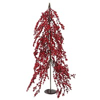 """32"""" Downswept Festive Red Berries Artificial Decorative Christmas Tree - Unlit"""