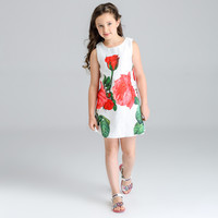Italy design baby girl clothes froal dresses for kids clothes fashion vestido infantil sleeveless dress