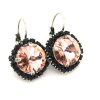 Pink and black Swarovski hook earrings gift for woman  - oxidized silver earrings real swarovski rhinestone.