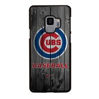 CHICAGO CUBS WOODEN LOGO Samsung Galaxy S4 S5 S6 S7 S8 S9 Edge Plus Note 3 4 5 8 Case Cover