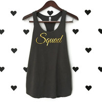 Bachelorette Party Shirts Squad bachelorette party tanks Squad racerback tank top GREY bachelorette shirts Gold glitter cursive lettering