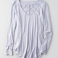AEO Soft & Sexy Cage Front T-Shirt , Lively Lilac