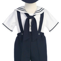Navy Blue & White Boys Sailor Suspender Shorts Set w. Hat 6m-4T
