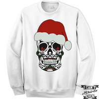 Sugar Skull Santa Sweatshirt. Merry Christmas Unisex Shirt. Horror Christmas.