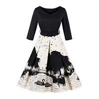 High Waist Long Sleeve Landscape Painting Swan Printed Latest Dress Pattern For Lady Fashion Women Office Dress