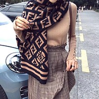FENDI women's winter knitted imitation cashmere thick warm scarf shawl plaid letter scarf