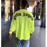 """Palm Angels""Fashion Letter Gothic Loose Print Fluorescent Color Round Collar Unisex Couple Long Sleeve Sweater Tops"