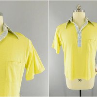 1970s Vintage / Yellow Golf Shirt / Polo Shirt / Plaid Collar / McGregor Competitors / Made in USA / Caddyshack Shirt / 70s Party / Size L