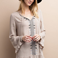 Embroidered Tunic with Little Ruffle Details