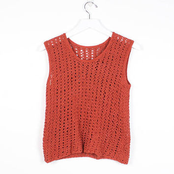 Vintage Apricot Brown Orange Sienna Knit Top 1990s Open Weave Knit Sweater Sleeveless Top 90s Tank Top Jumper Minimalist Boho XS S Small M