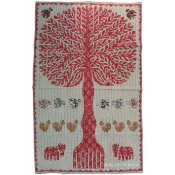 "34"" TREE OF LIFE Wall hanging Patchwork Tapestry Indian Vintage Decor Ethnic Decoration Art"