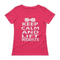 Keep Calm and Lift Weights workout T-shirt, funny lifting women's T-shirt
