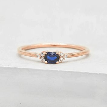 Dainty Oval Ring - Rose Gold + Sapphire