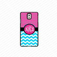 monogram Galaxy Note 4 case- monogram Personalized  pink polka dot with blue chevron samsung Galaxy Note 4 case- fits note 4 case, at&t, verison, T-mobile.sprint and international (white)