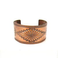 Bell Copper Thick Wide Southwestern Signed Adjustable Cuff Bracelet Statement Mid Century Modernist Designer Vintage Estate Find Costume