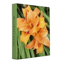 Custom Orange Lilies Floral Photography Ring Binder