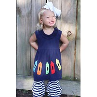 Back To School Navy Crayons With Stripped Ruffle Capri Pants