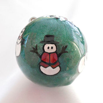 Carved Golf Ball, Christmas Ornament, Unique Golf Gift for Men or Women Golfer, Snowman Christmas Ornament