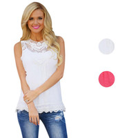 Hot Marketing Women Summer Vest Top Sleeveless Blouse Casual Tank Tops Shirt Lace O20